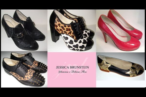 Jessica Brunstein, zapatos exclusivos con charol, animal print y púas de oro