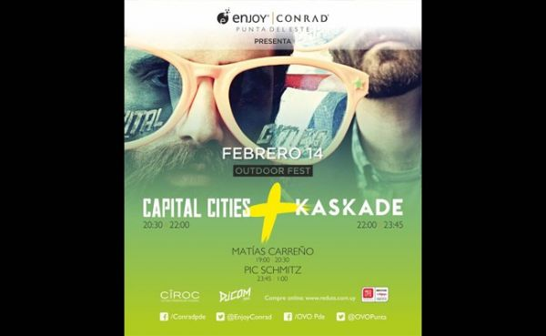 Capital Cities y Kaskade se presentarán en Enjoy Conrad